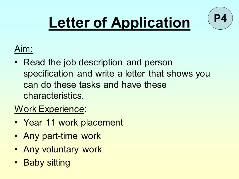 Letter of Application P4 Aim: