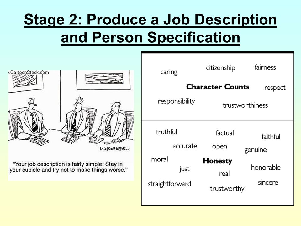 Job Specification or Person Specification