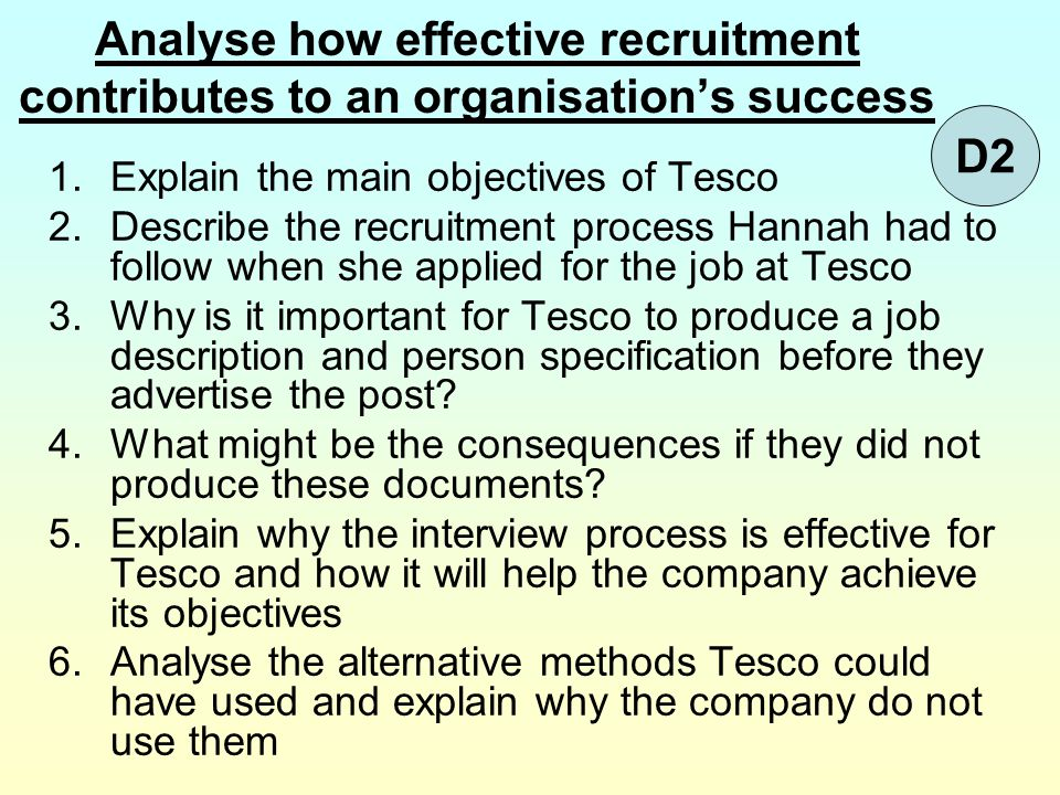 Analyse how effective recruitment contributes to an organisation's success