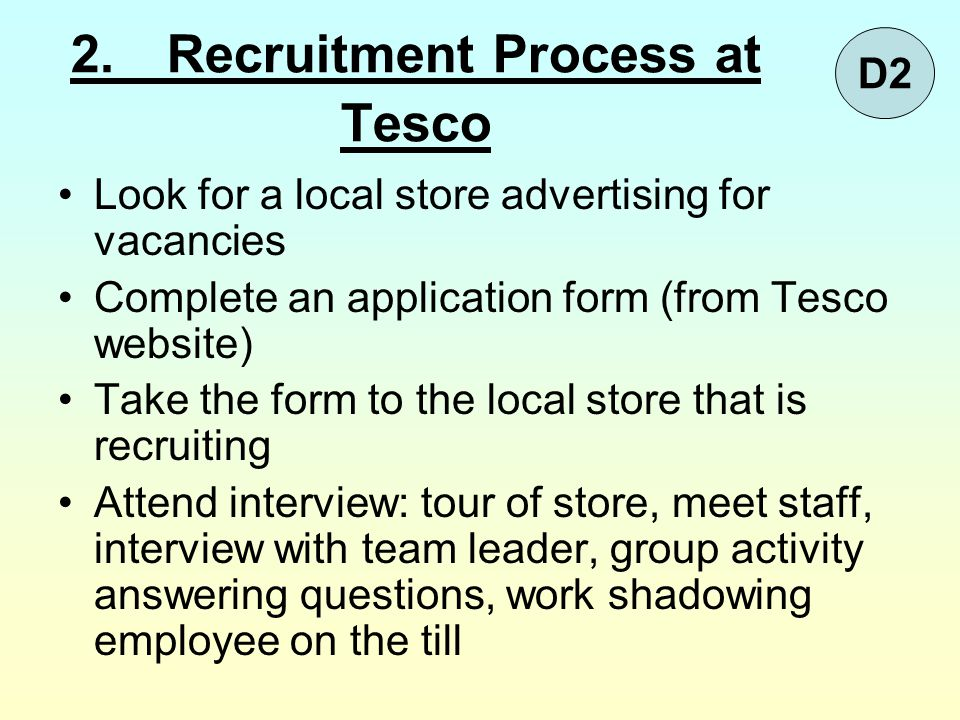 2. Recruitment Process at Tesco