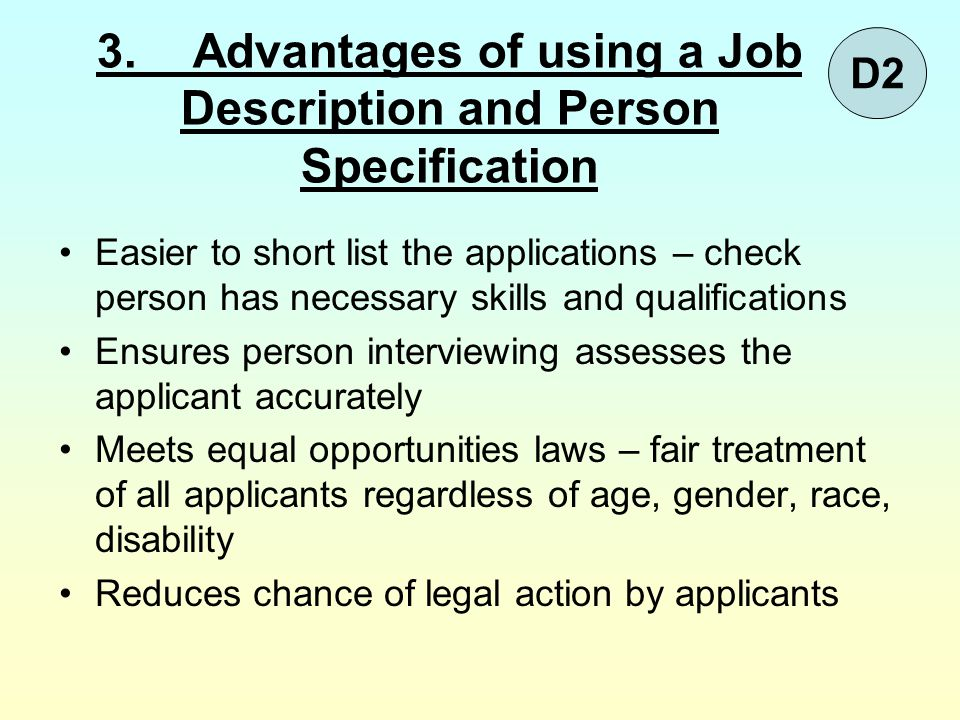 3. Advantages of using a Job Description and Person Specification