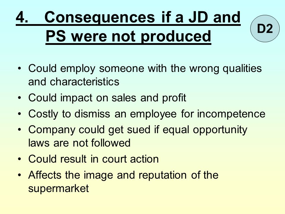 4. Consequences if a JD and PS were not produced