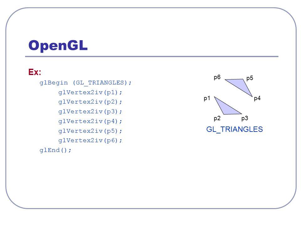 OpenGL Ex: GL_TRIANGLES glBegin (GL_TRIANGLES); glVertex2iv(p1);