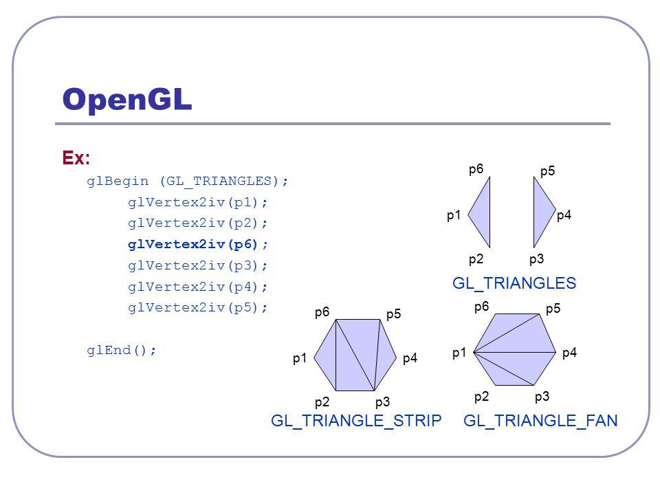 OpenGL Ex: GL_TRIANGLES GL_TRIANGLE_STRIP GL_TRIANGLE_FAN