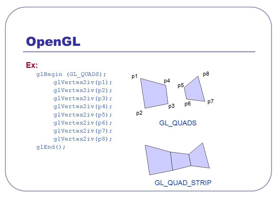 OpenGL Ex: GL_QUADS GL_QUAD_STRIP glBegin (GL_QUADS); glVertex2iv(p1);