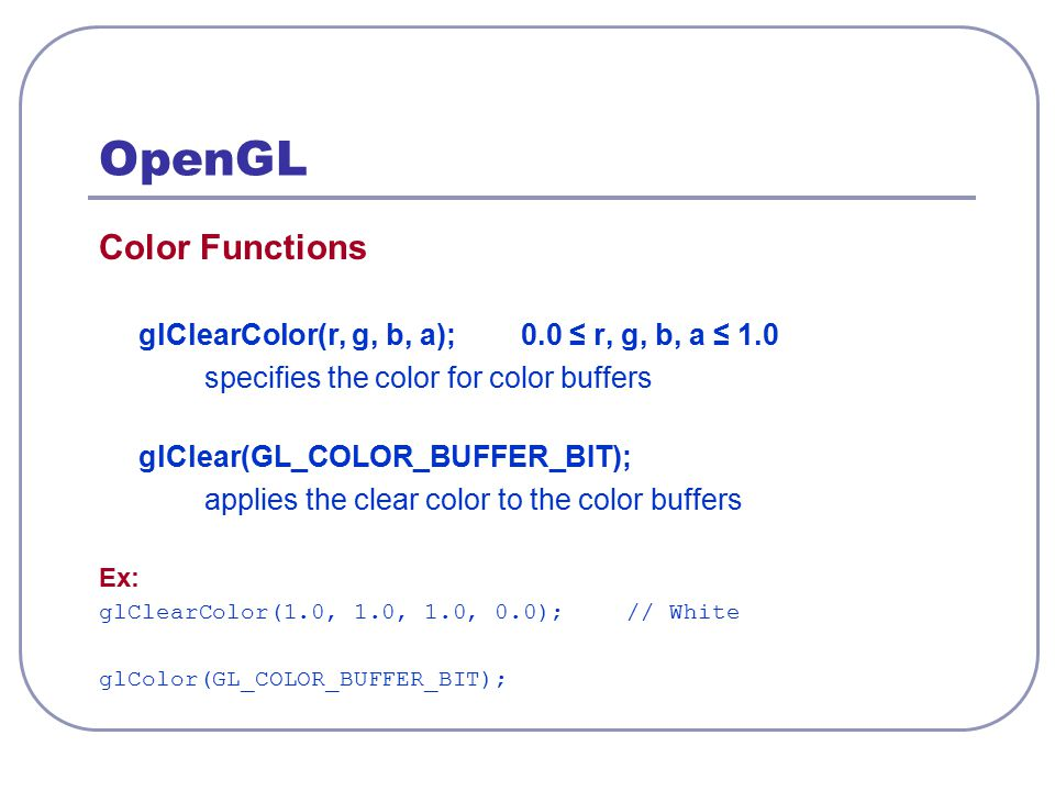 OpenGL Color Functions