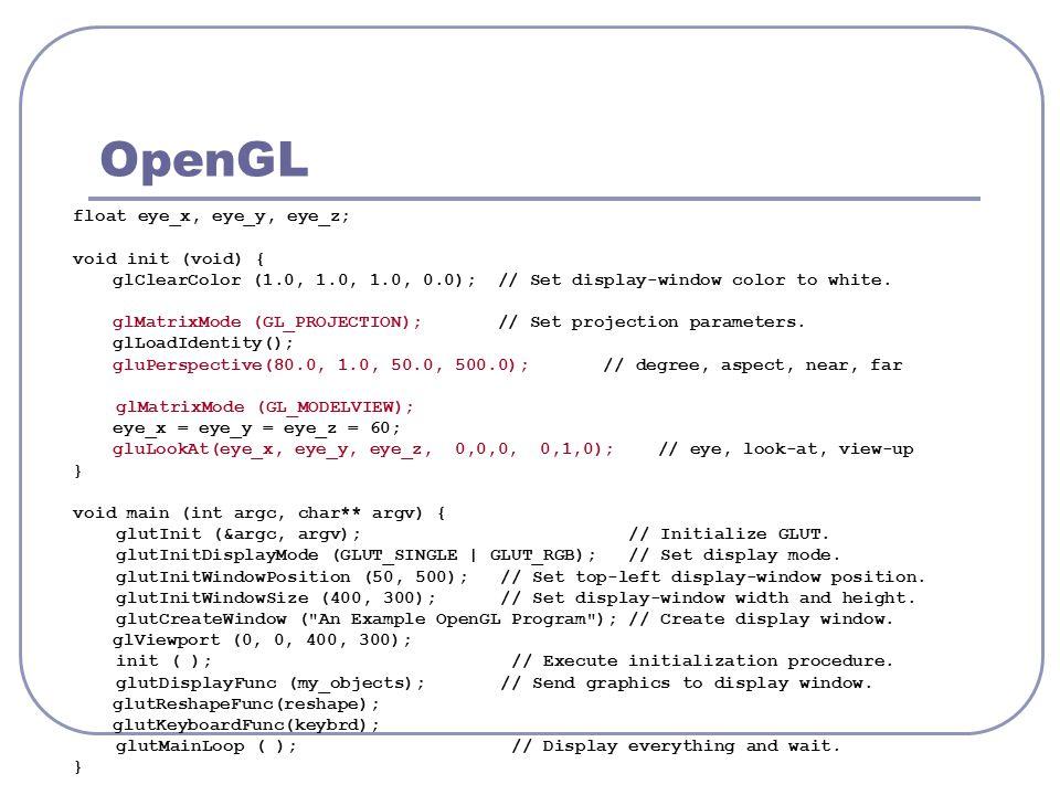 OpenGL float eye_x, eye_y, eye_z; void init (void) {