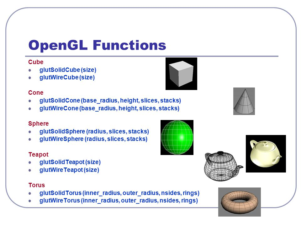 OpenGL Functions Cube glutSolidCube (size) glutWireCube (size) Cone