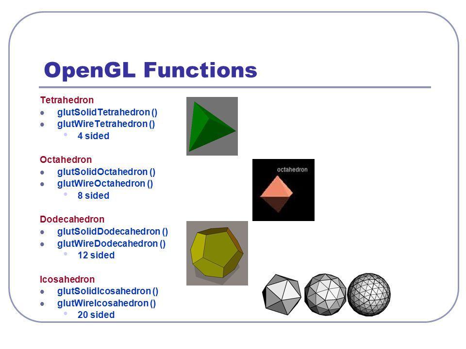OpenGL Functions Tetrahedron glutSolidTetrahedron ()