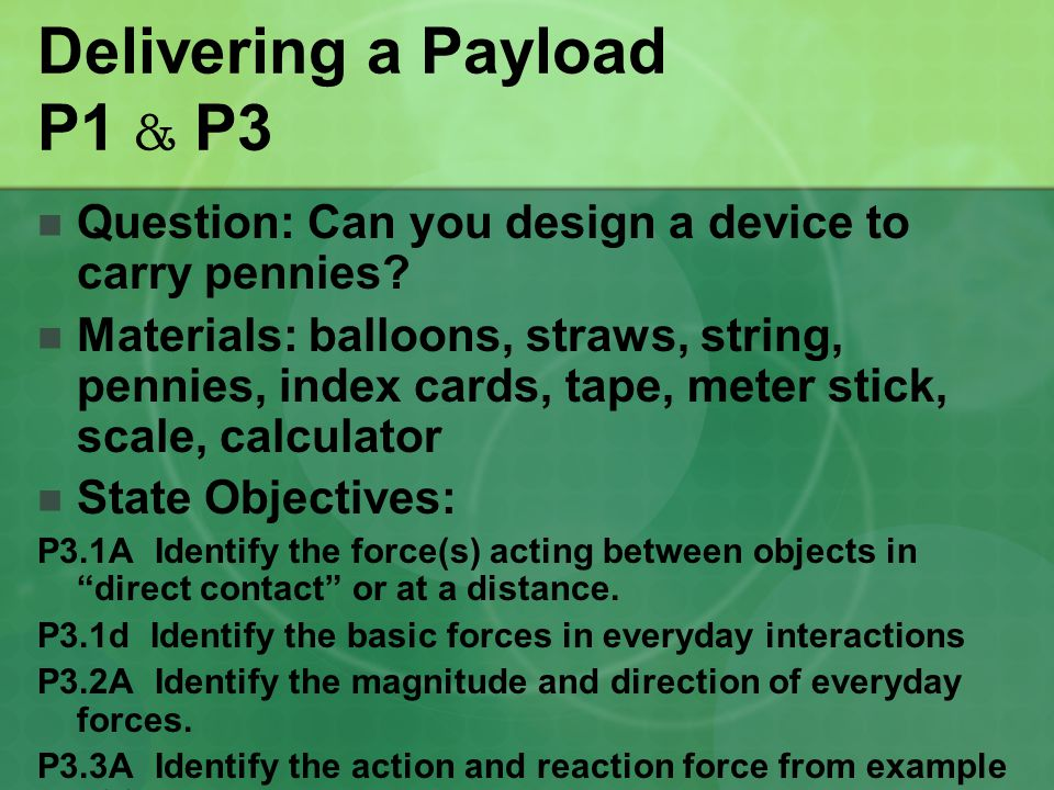 Delivering a Payload P1 & P3