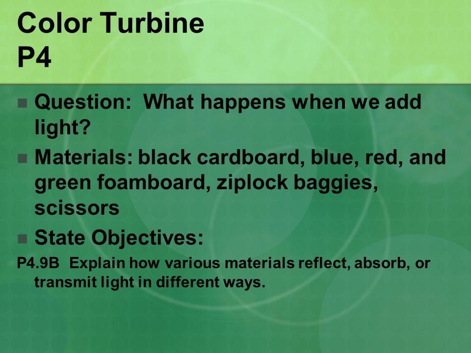 Color Turbine P4 Question: What happens when we add light