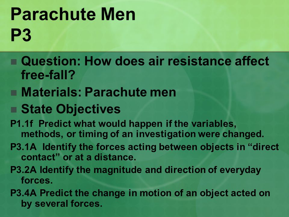 Parachute Men P3 Question: How does air resistance affect free-fall