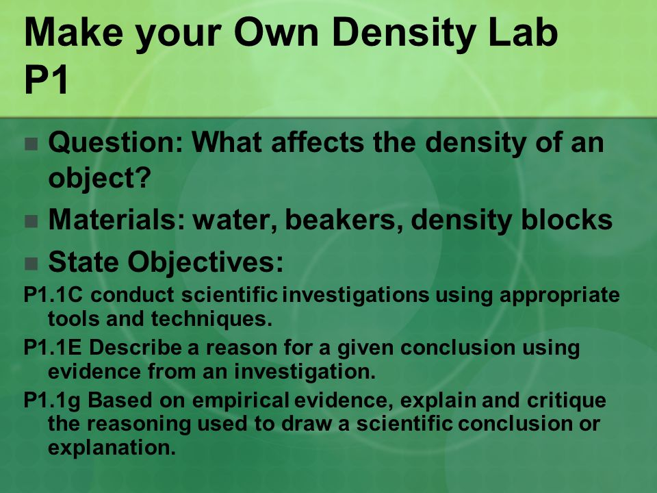 Make your Own Density Lab P1