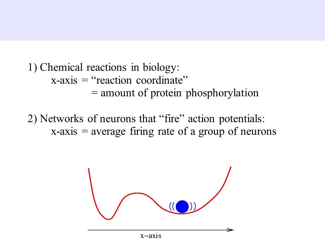 1) Chemical reactions in biology: