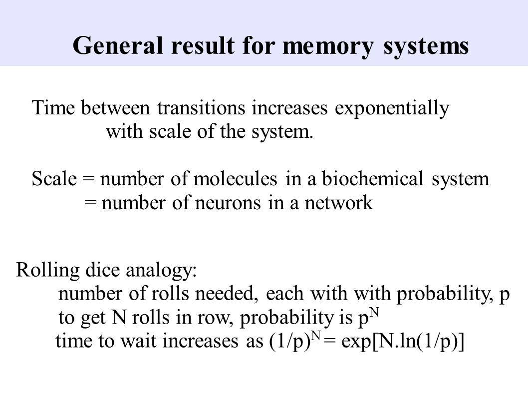 General result for memory systems