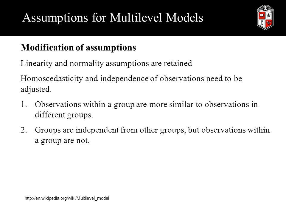 Assumptions for Multilevel Models