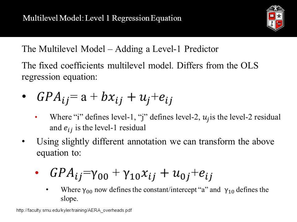 Multilevel Model: Level 1 Regression Equation