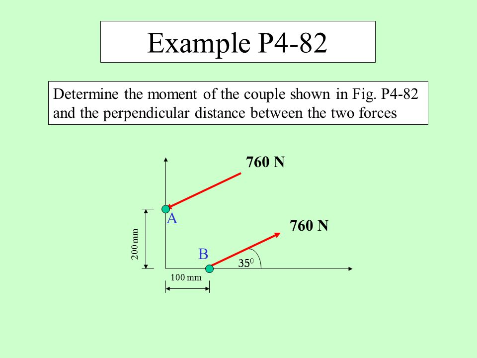 Example P4-82 Determine the moment of the couple shown in Fig. P4-82 and the perpendicular distance between the two forces.