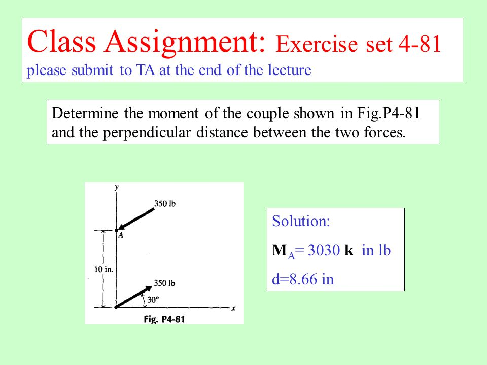 Class Assignment: Exercise set 4-81