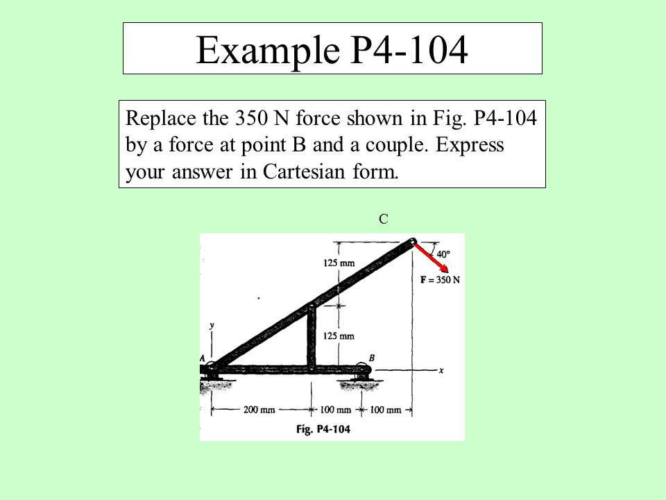 Example P4-104 Replace the 350 N force shown in Fig. P4-104 by a force at point B and a couple. Express your answer in Cartesian form.