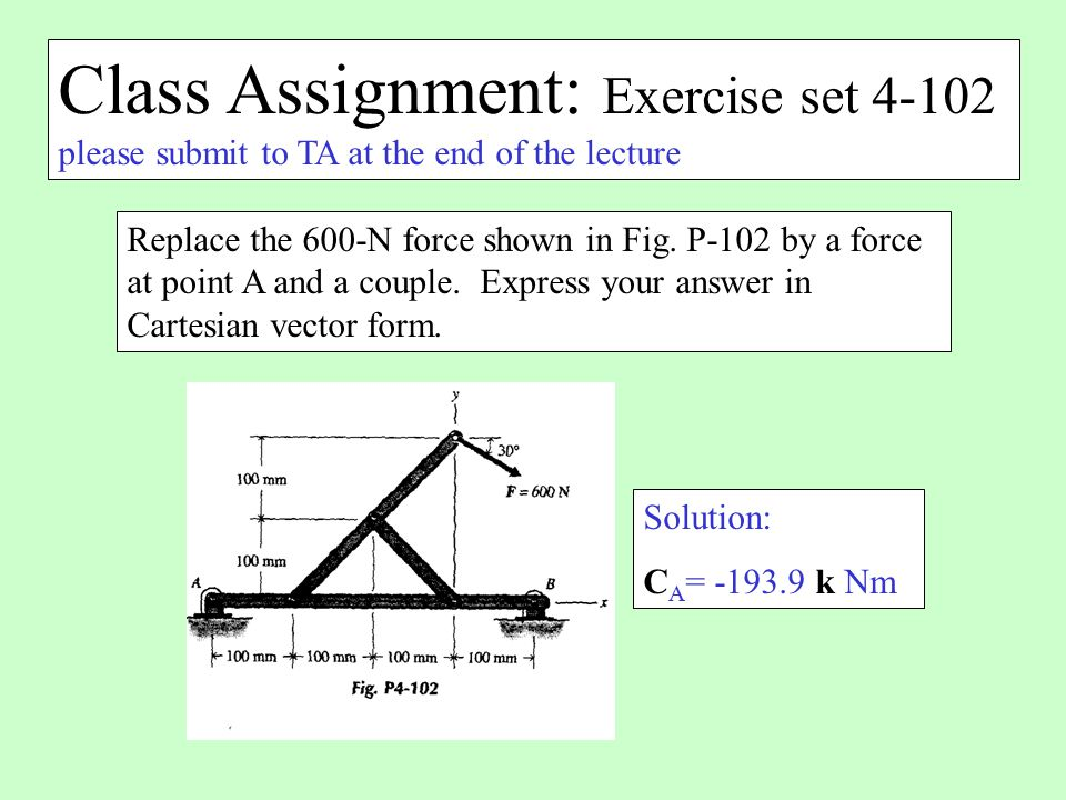 Class Assignment: Exercise set 4-102