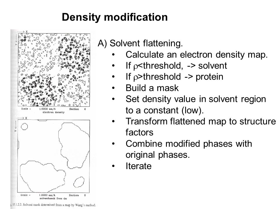 Density modification Histogram matching A) Solvent flattening.