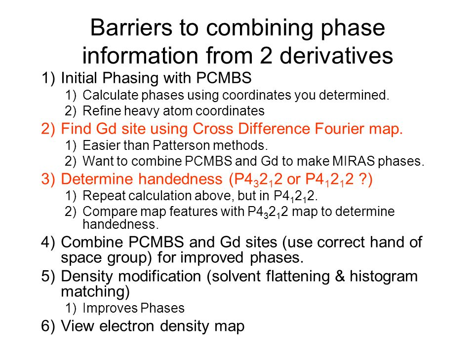 Barriers to combining phase information from 2 derivatives