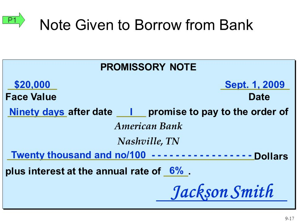 Note Given to Borrow from Bank