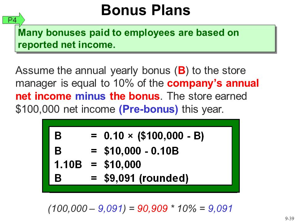Bonus Plans P4. Many bonuses paid to employees are based on reported net income.