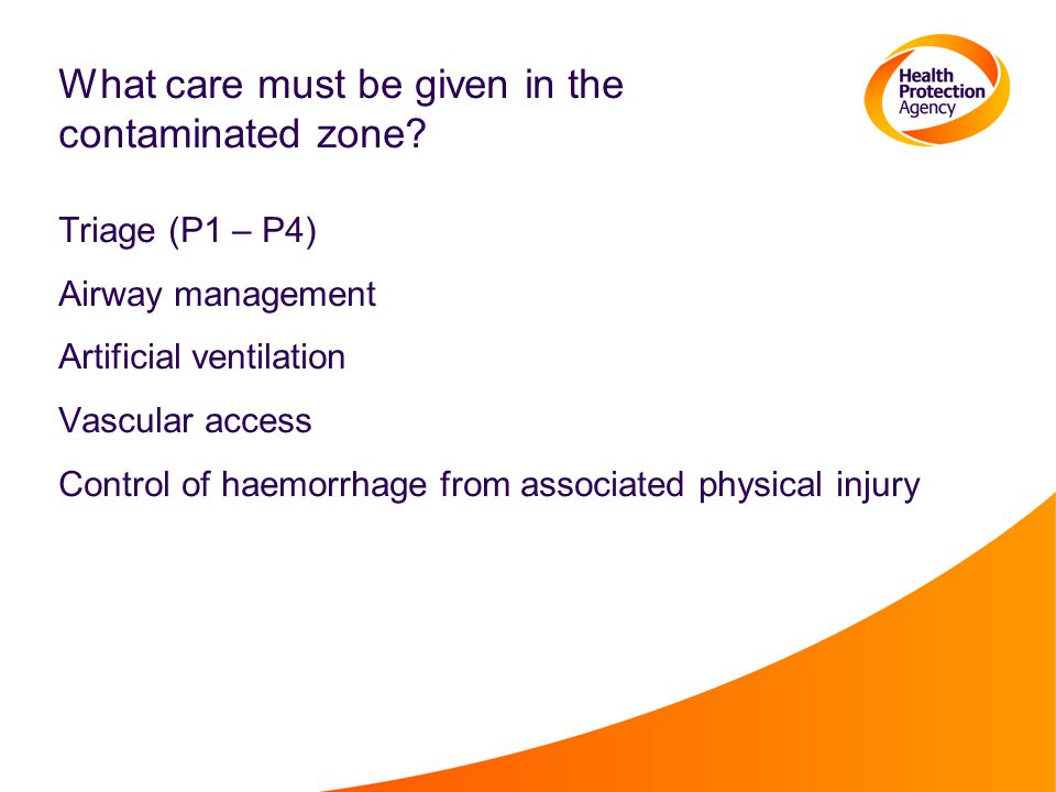 What care must be given in the contaminated zone