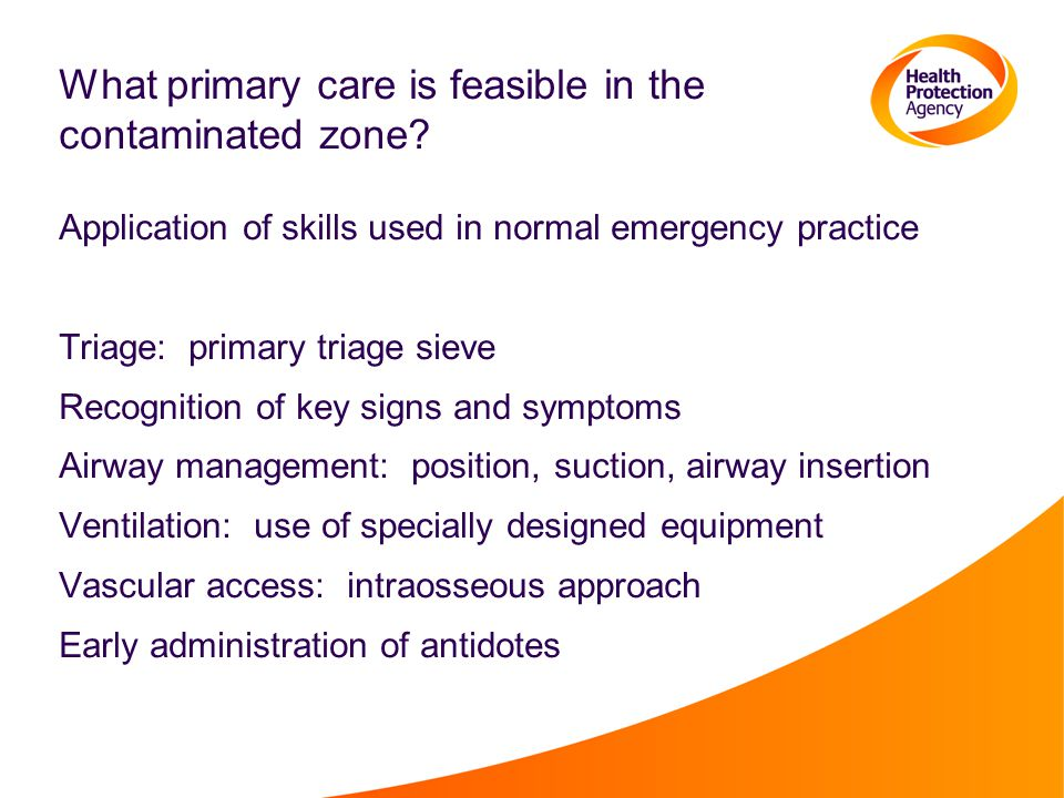 What primary care is feasible in the contaminated zone