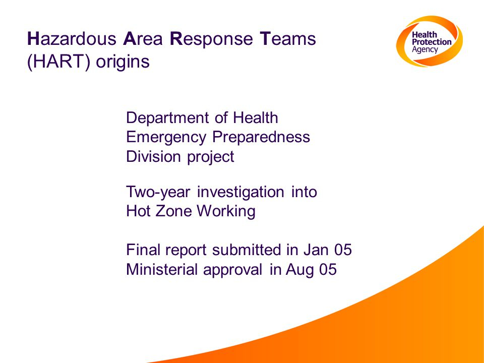 Hazardous Area Response Teams (HART) origins