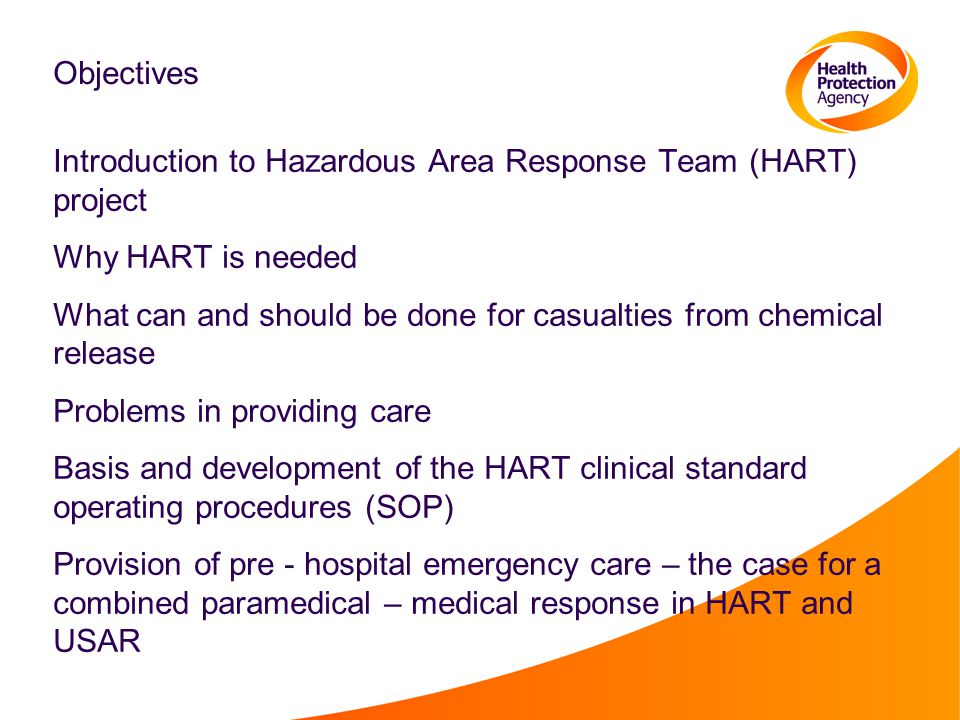 Objectives Introduction to Hazardous Area Response Team (HART) project. Why HART is needed.