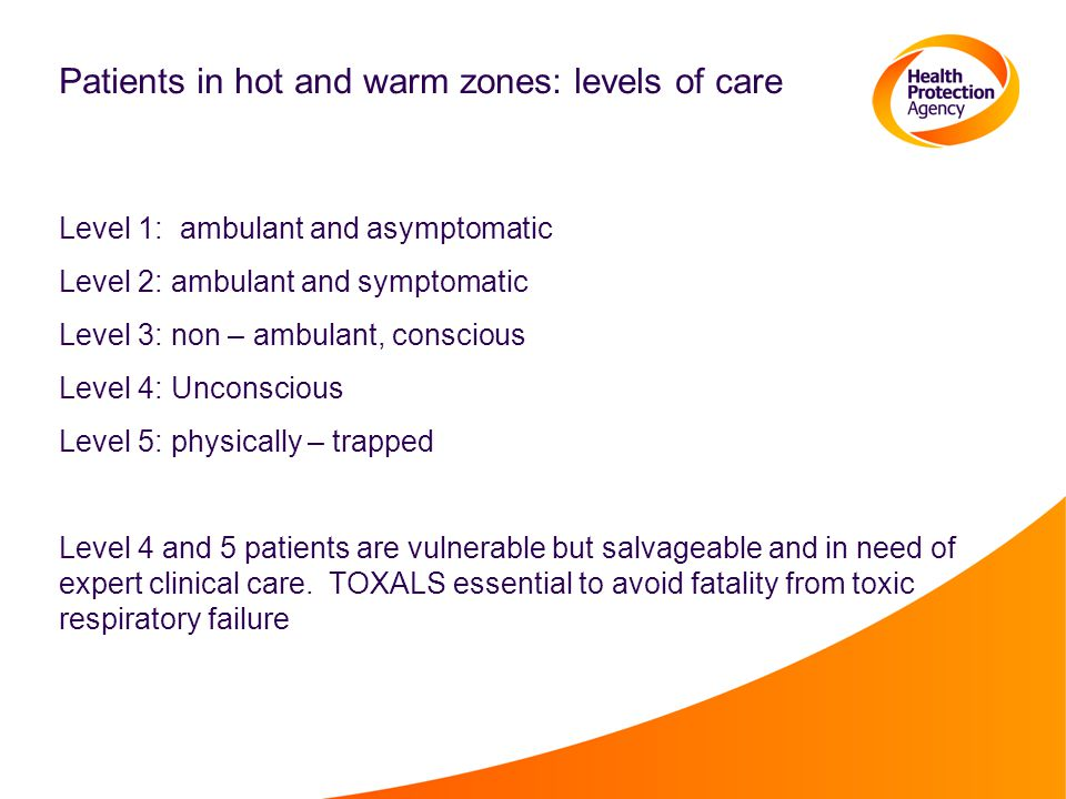 Patients in hot and warm zones: levels of care