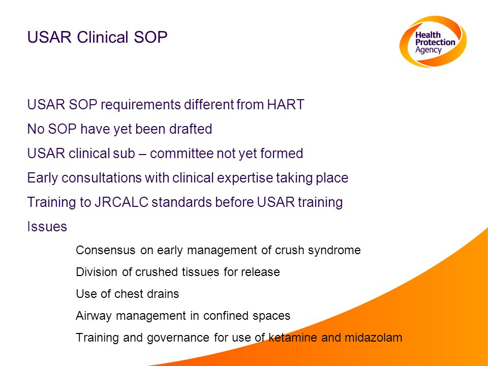 USAR Clinical SOP USAR SOP requirements different from HART