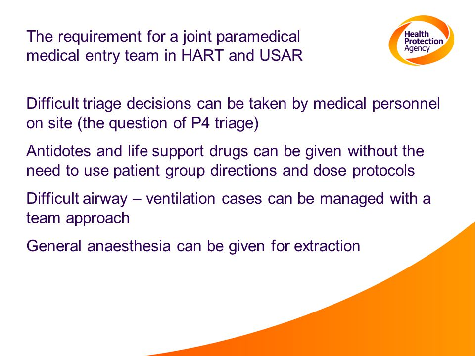 The requirement for a joint paramedical medical entry team in HART and USAR