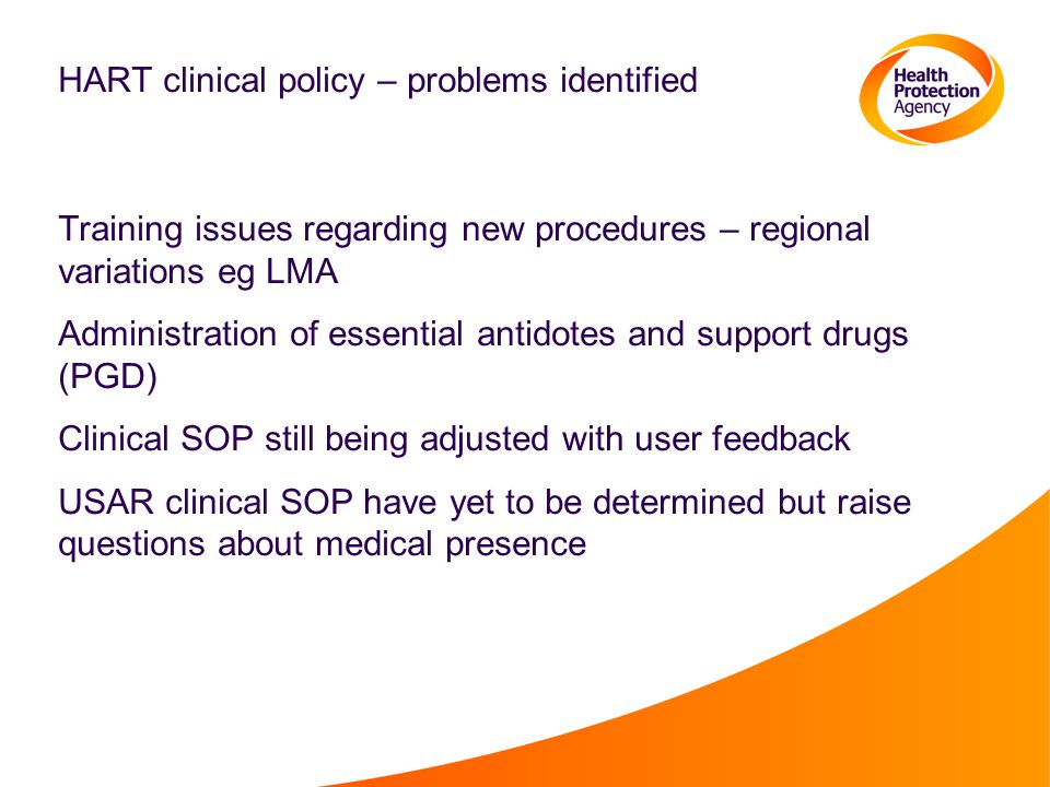HART clinical policy – problems identified