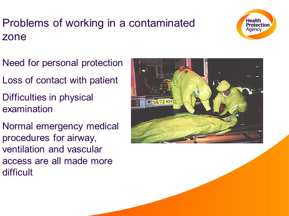 Problems of working in a contaminated zone