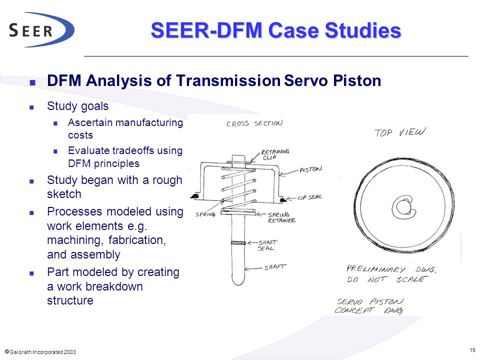 SEER-DFM Case Studies DFM Analysis of Transmission Servo Piston