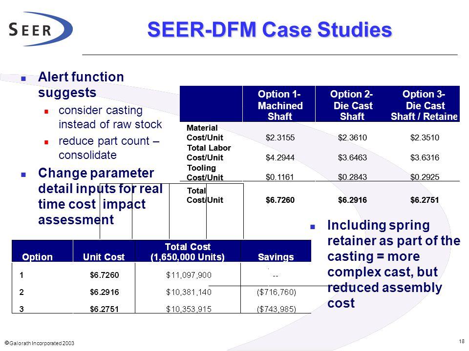 SEER-DFM Case Studies Alert function suggests