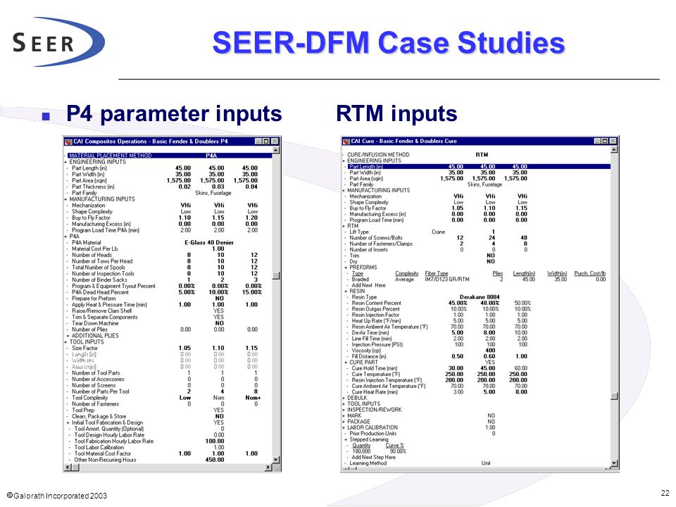 SEER-DFM Case Studies P4 parameter inputs RTM inputs