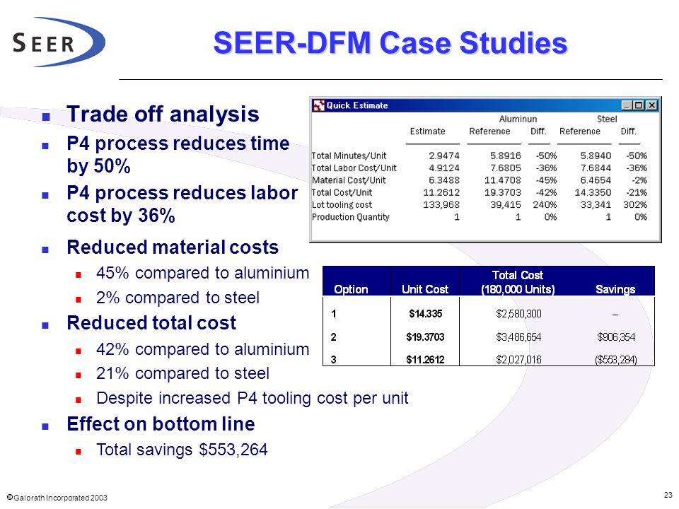 SEER-DFM Case Studies Trade off analysis