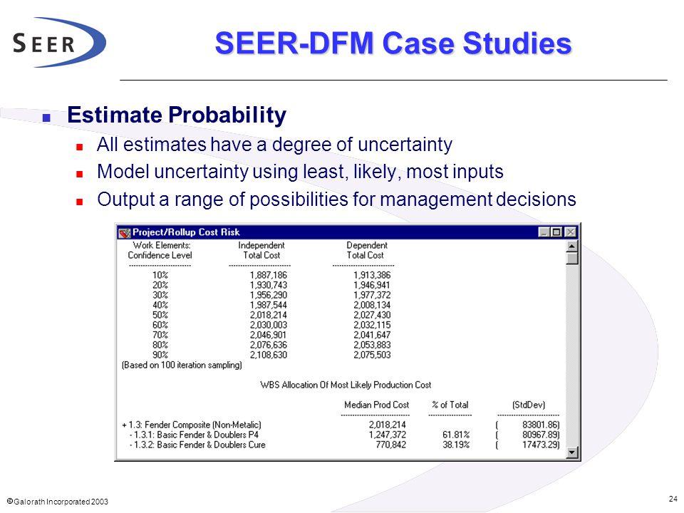 SEER-DFM Case Studies Estimate Probability