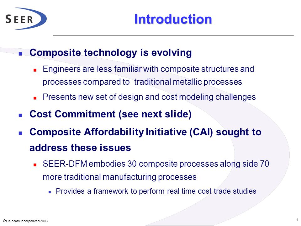 Introduction Composite technology is evolving