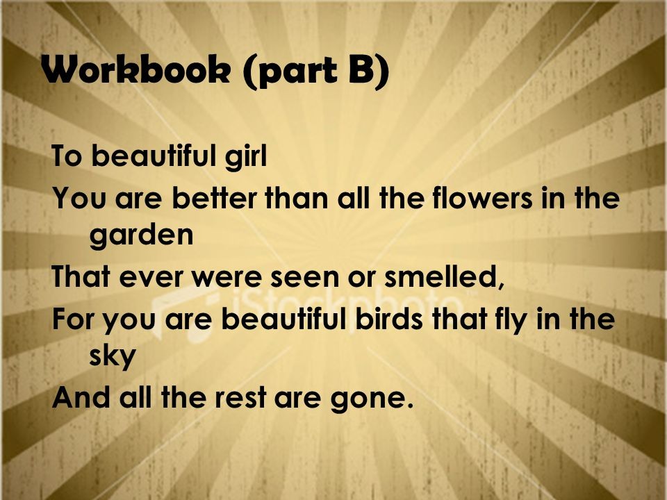 Workbook (part B) To beautiful girl