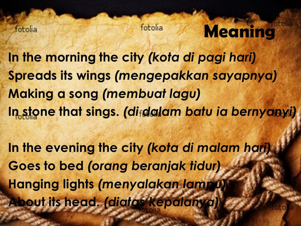 Meaning In the morning the city (kota di pagi hari)