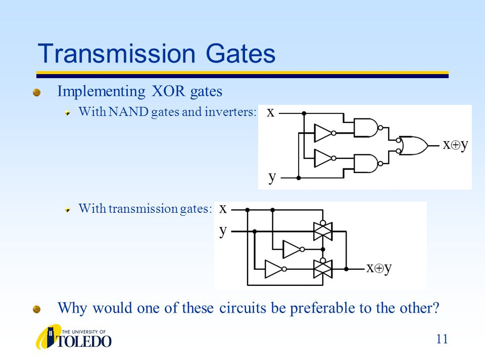 Transmission Gates Implementing XOR gates