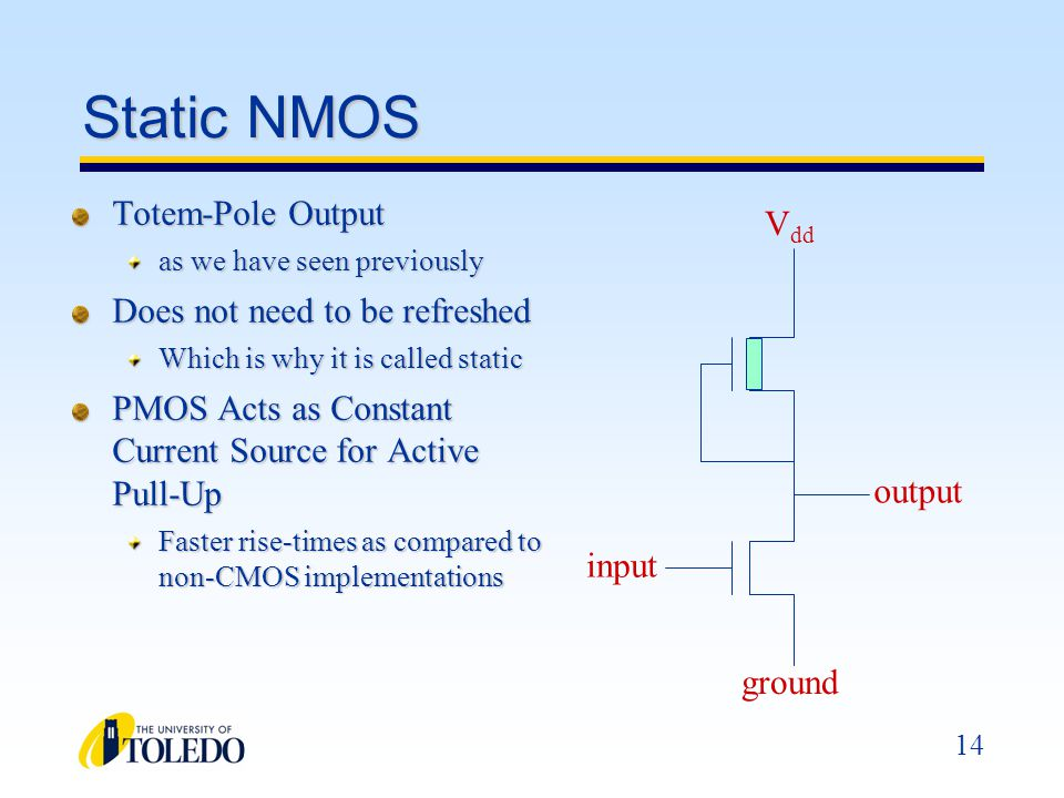 Static NMOS Totem-Pole Output Vdd Does not need to be refreshed