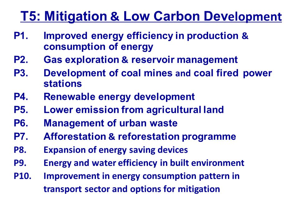 T5: Mitigation & Low Carbon Development