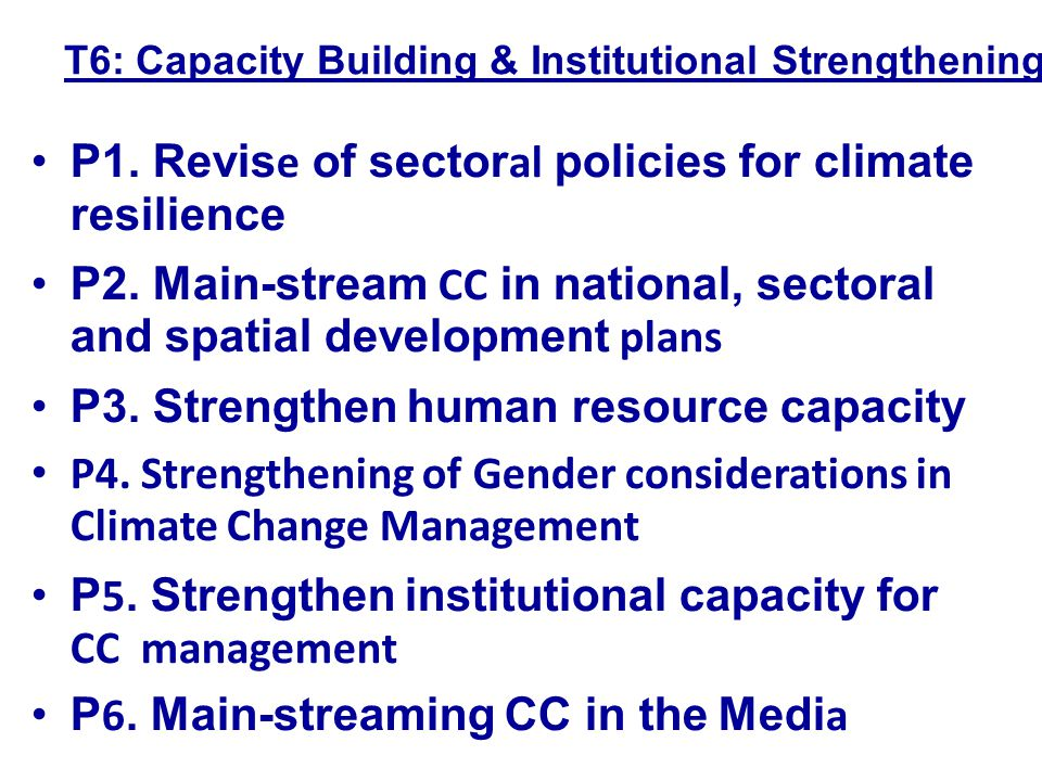 P1. Revise of sectoral policies for climate resilience